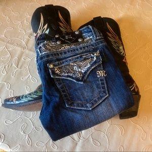 Miss Me Rhinestone Inlay Bootcut Jeans